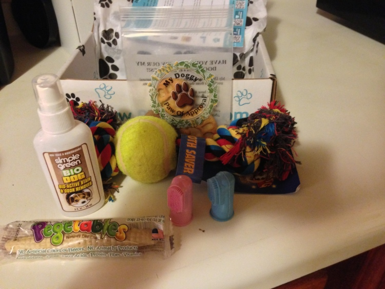 Somebody sent us a PawBox! And look- there's cookies!!!