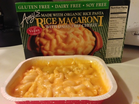 Amy's vegan mac & cheez with rice pasta and Daiya cheese.