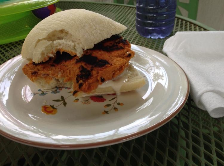sweet potato burger- it's delicious!