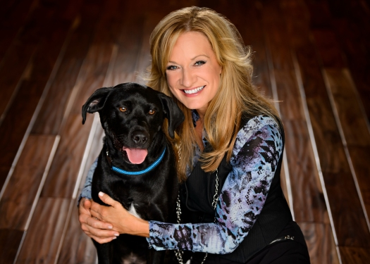 Kristen Levine  and her rescued dog,