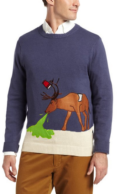 "And this is the ""reindeer hangover"" sweater"