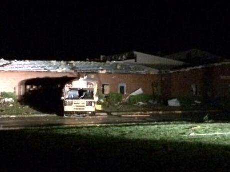 School in Fayetteville, TN hit by tornado last night; photo by @WZTVJohnDunn