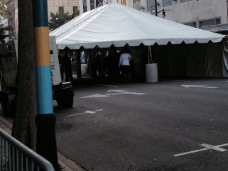 Hard to tell, but this tent was in the middle of 3rd Street. Inside were metal detectors each of us had to walk through, and have our belongings searched.