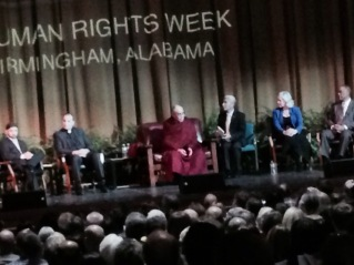 The Dalai Lama and other speakers on the state. I was in the back, so the pic isn't very good.