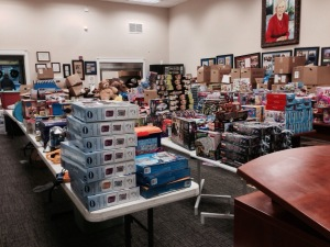 This is the conference area of the building where I work. Partnering agencies are gathering items to provide gifts for over 300 children in the Florida panhandle. I call it Santa's workshop annex.
